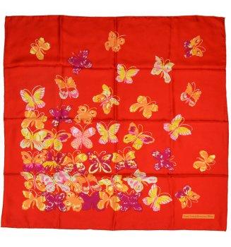 Carré en soie Papillons de Dufy - rouge