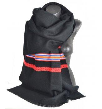 Châle Athna noir et rouge