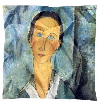 Carré en soie La jeune femme au col marin de Modigliani