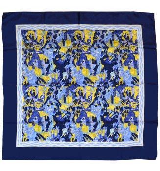 Carré en soie Deauville bleu de Dufy