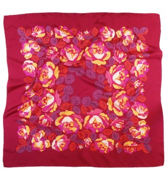Carré en soie Poiret roses de Dufy