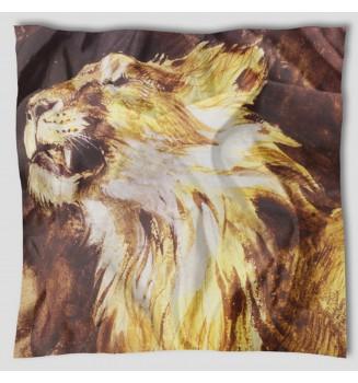 Carré en soie Tête de Lion rugissant de Delacroix