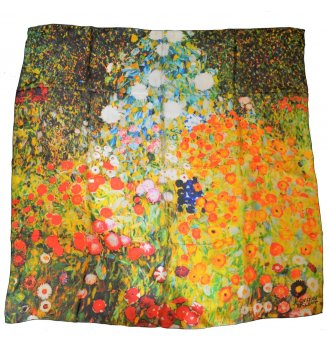 Carré en soie Jardin fleuri de Klimt
