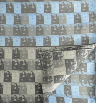 Foulard en soie homme Joconde de Vinci bleu