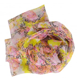 Foulard en soie coquillage jaune-rose