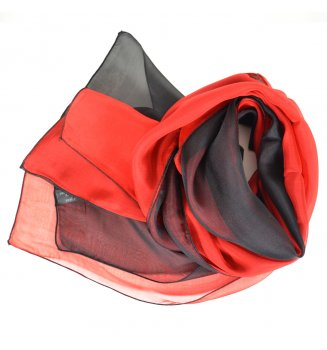 Foulard en soie bi-bandes noir et rouge