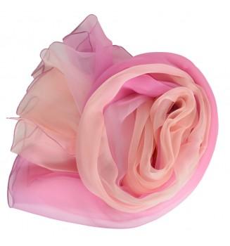 Etole en mousseline dégradé de rose