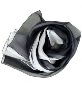 Foulard en soie bi-bandes noir et blanc