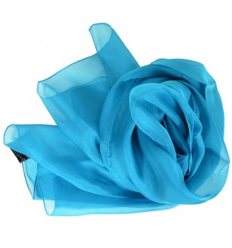 Foulard en mousseline de soie bleu lagon