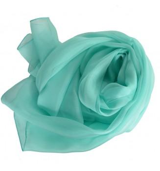 Foulard en mousseline de soie bleu aqua