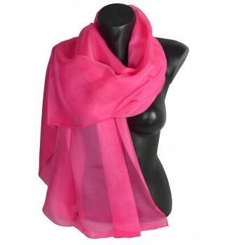 Etole en mousseline de soie rose bonbon