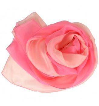 Foulard en soie bi-bandes rose