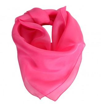 Carré en mousseline de soie rose bonbon