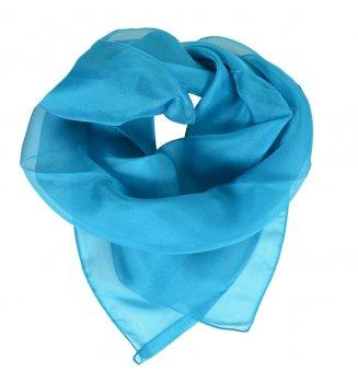 Carré en mousseline de soie bleu turquoise