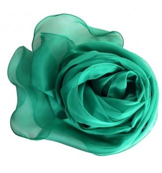 Foulard ondulé en mousseline de soie vert