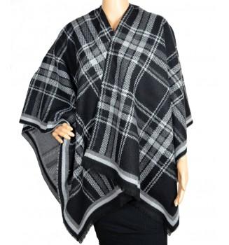 Poncho ecossais noir gris