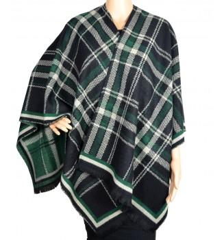 poncho ecossais noir vert