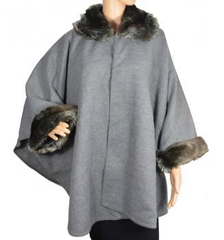 Poncho col fourrure gris