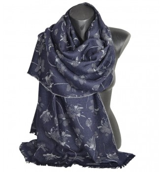 Etole laine mérinos Liberty bleu-nuit fabriquée en france