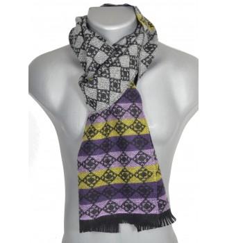 Echarpe laine cachemire Cabochon gris-violet