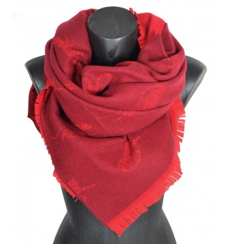 Châle acrylique soie cachemire Calin rouge