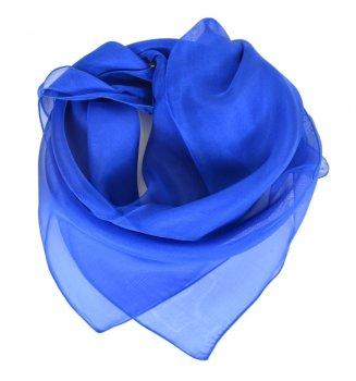 Carré en mousseline de soie bleu saphir