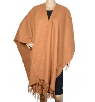 Poncho laine camel