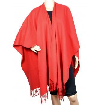 Poncho laine rouge