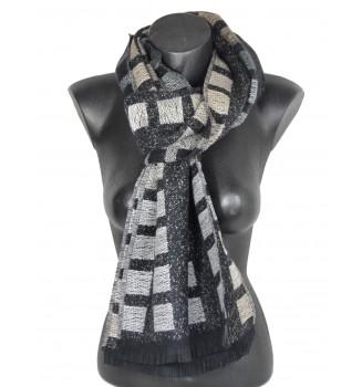 Echarpe laine cachemire noire Caméléon