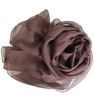 Foulard en mousseline de soie marron