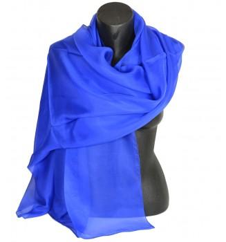 Etole en mousseline de soie bleu royal