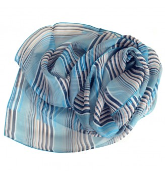 Foulard en soie Rayure bleu