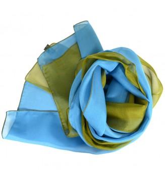 Foulard en soie bi-bandes bleu et vert