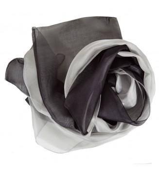 Foulard en soie bi-bandes gris et noir
