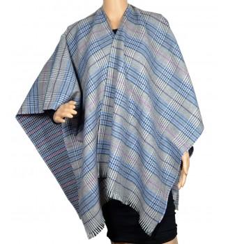 Poncho laine cachemire Cabri gris et bleu