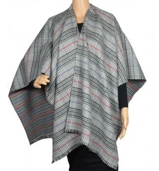 Poncho laine cachemire Cabri gris et rouge