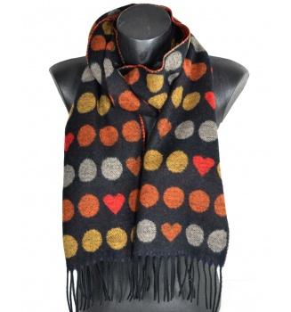 Echarpe Coeur cashcryl noire-orange