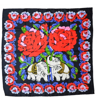 Carré en soie Eléphants de Dufy