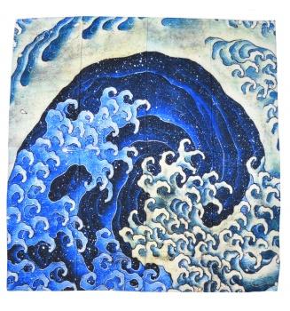 Carré en soie Vague féminine de Hokusai