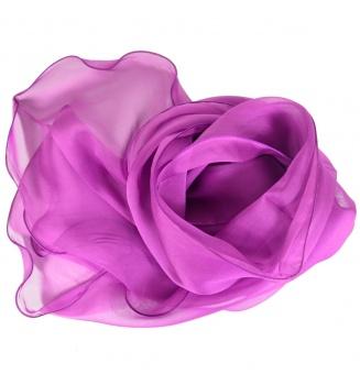 Foulard ondulé en mousseline de soie rose foncé