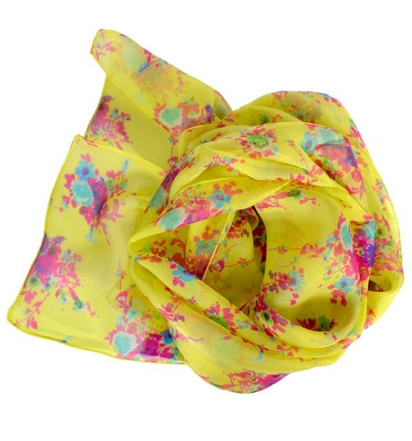 Foulard en soie Bouquet jaune
