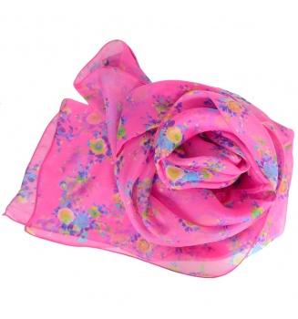 Foulard en soie Bouquet rose