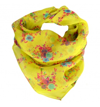 Carré en soie Bouquet jaune