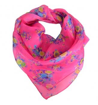Carré en soie Bouquet rose