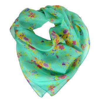 Carré en soie Bouquet turquoise