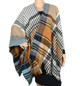 Poncho laine Enora camel