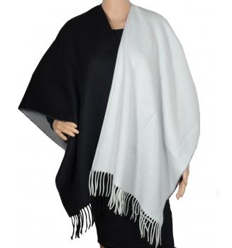 Poncho Amitié bicolore noir et blanc