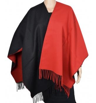 Poncho Amitié bicolore noir et rouge