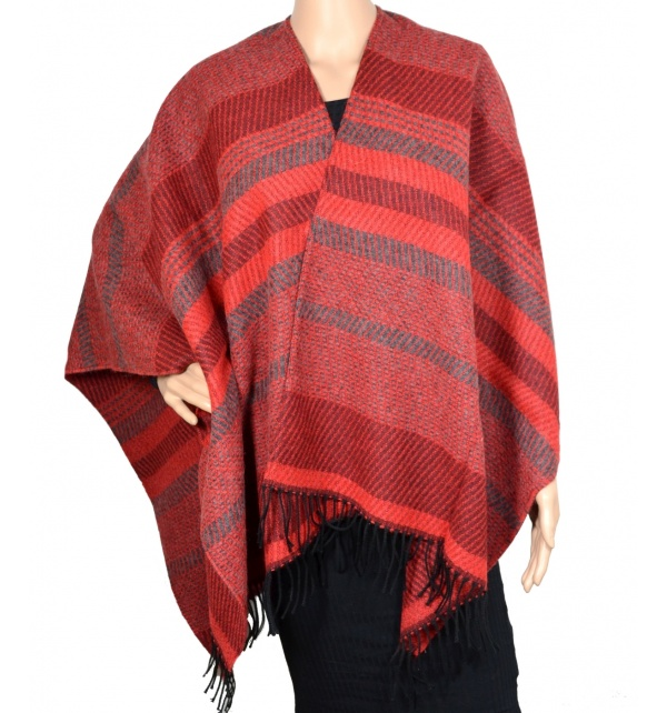 Poncho laine Argan rouge