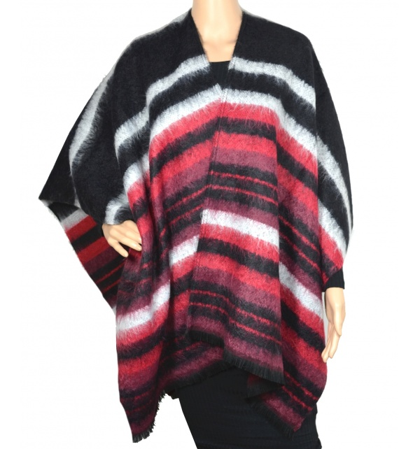 Poncho Arlesienne noir-rouge